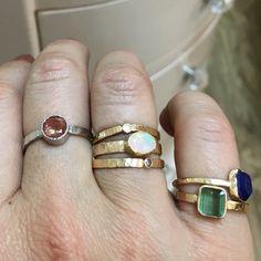 Feeling the love for some #sunstone  today... Sunstone in platinum  & hammered 14k gold #stacks #opal #tourmaline #diamonds #lapis  #melissatysondesigns #weekendfun #sparkles #stacking #alternativebridal