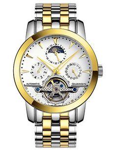 GUANQIN Männer automatische Automatik-Uhr 100 m wasserdicht hohlen Multifunktionskristall Tourbillon Stahl 40mm Uhr - http://uhr.haus/weiq/guanqin-maenner-automatische-automatik-uhr-100-m
