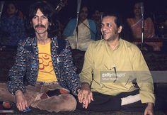 George Harrison sits with Ravi Shankar on September 23, 1974 in London, England.