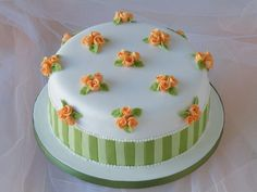 Peach and Green Cake - by CakeHeaven @ CakesDecor.com - cake decorating website