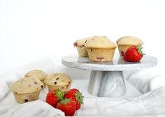 Spelt muffins met een choco-aardbei vulling