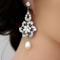 Wow!!!!! Wedding Jewlery, Bridal Earrings, Pearl and Rhinestone Wedding Earrings, Swarovski Crystal Chandelier Earrings CLASSIC SABINE. $85.00, via Etsy.