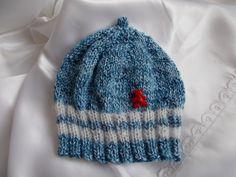 bonnet lutin bébé en coton chiné bleu avec bandes de mohair blanc tricoté en rond avec : Mode Bébé par bebelaine