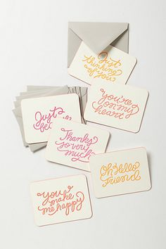 all occasion notecards - just because, you make me happy, just thinking of you, you're on my heart, thanks so very much, oh hello friend