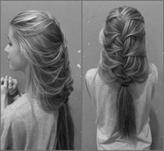 If there's a way to pin the leftover ponytail at the bottom up underneath the braid - it's perfect. And it's the first relatively innovative up-do idea I've seen for hair as long as mine.