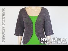 Instructions and video tutorial how to crochet cardigan sweater. Women's open front jacket crochet pattern – double crochet stitch. Black Crochet Dress, Crochet Coat, Crochet Cardigan Pattern, Lace Cardigan, Crochet Jacket, Crochet Blouse, Crochet Stitch, Cardigan Fashion, Crochet Clothes