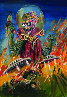 Had a choice of a movie poster or a brochure. I chose Mars attacks Acrylics on illustration board. This movie always makes me laugh
