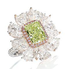 Fancy Intense Yellow-Green Diamond and Diamond Ring