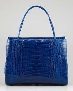 @Neiman Marcus cobalt blue crocodile satchel.