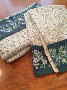 LAURA ASHLEY BRAMBLE GREEN VIOLET STRAWBERRIES FLORAL QUEEN SHEET SET