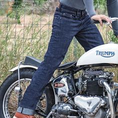 Resurgence Cafe Racer jeans straight leg in blue Motorcycle Jeans, Motorcycle Outfit, Trousers, Pants, Biking, Physique, Motorcycles, Legs, Clothing