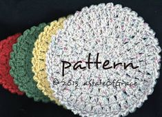 Round Dishcloth PATTERN, 4 Sizes, Washcloth, Hot pad, Doily, Facial Scrubbie, Coaster, Cleaning Sponge, Crochet, INSTANT DOWNLOAD Double Crochet, Single Crochet, Baby Washcloth, Star Flower, Hot Pads, Slip Stitch, Washing Clothes, Doilies, Dishcloth