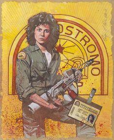Alien - Ripley by Mark Raats * Conquest Of Paradise, Alien 1979, Arte Alien, Alien Art, Ellen Ripley, Aliens Movie, Alien Vs Predator, Pop Culture Art, The Best Films