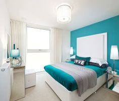 New Capital Quay bedroom Teen Room Decor, Home Decor Bedroom, Modern Bedroom, Living Room Decor, Bedroom Turquoise, Blue Bedroom, Bedroom Colors, Girl Bedroom Designs, Home Room Design