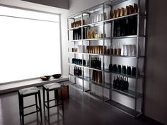 Saved by Ivan Saccomani Discover more of the best Arredamento, Contract, Bar, Progettazione, and Arredamenti inspiration on Designspiration Bar Shelves, Kitchen Shelves, Shelf, Wall Mounted Shelves, Refrigerator Freezer, Commercial Kitchen, Bar Counter, Bar Furniture, Double Doors