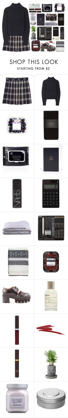 """English College Set- organised- clean- clever- fresh fruits-"" by messymarti ❤ liked on Polyvore featuring Monki, Acne Studios, Zara, Smythson, NARS Cosmetics, Muji, Frette, Jeffrey Campbell, Le Labo and Becca"