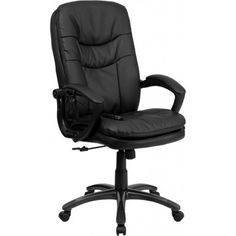 High Back Massaging Black Leather Executive Swivel Office Chair - Flash Furniture a relaxing massage in the comfort of your own office with this incredibly comfortable Massaging Executive Office Chair. The included remote has a variable s