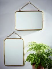 NEW Two Small French Mirrors - Brass