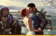 Mass Effect,фэндомы,ME art,Femshep,Kaidan,James Vega,Garrus,Wrex,Tali