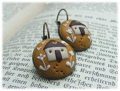 House Earrings House Jewelry Polymer Clay by VintageFloralJewel