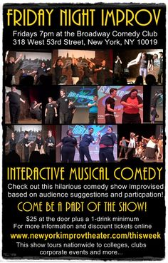 Friday 9/30 at 7pm. https://newyorkimprovtheater.com/thisweek/   #Improv at the #Broadway #Comedy #Club #NYC