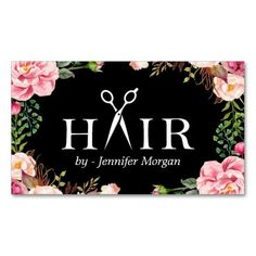 Floral Hair Stylist Logo Beauty Salon Appointment Double-Sided Standard Business Cards (Pack Of 100)