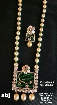 Pearl Necklace Designs, Gold Earrings Designs, Beaded Jewelry Designs, Jewelry Patterns, Fancy Jewellery, Trendy Jewelry, Simple Jewelry, Gold Jewelry, Fashion Jewelry