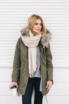 Olive green Zara parka and light beige scarf