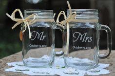 Mason Jar Wedding Glasses -  Mr and Mrs - Choice of 14 Fonts. $20.00, via Etsy.