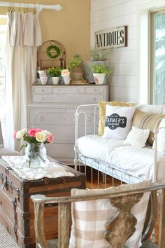 Simple ways to decorate for spring on a budget with farmhouse style and vintage decor.