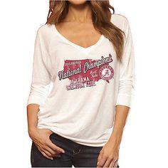 Alabama Crimson Tide 2016 Football National Champions Women White T-Shirt efdabd3d3