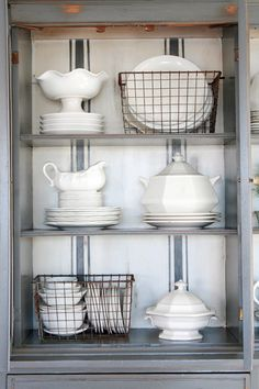 Grand Design: Grain sack stripe inspired hutch love the dishes in wire baskets Decor, Farmhouse Dining, Dining, Dish Display, Kitchen Decor, Kitchen Dining Room, China Cabinet, Sweet Home, Home Kitchens