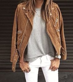 great outfit inspiration - camel suede moto jacket, grey tee, and white jeans