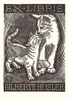 Kočky (Cats), Czech ex libris. -- Sbírka Norberta Felsche (Collection of Norbert Felsch)
