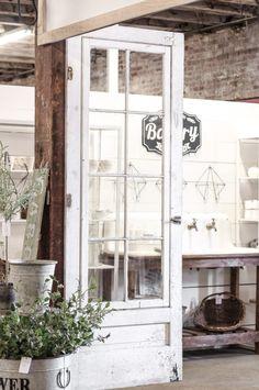 A New Space for Love Grows Wild Market Retail Store Design, Retail Shop, Door Displays, Retail Displays, Antique French Doors, Shop Doors, Reclaimed Doors, Candle Store, Kitchen Display