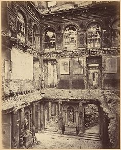 Tuileries Palace, Burned. On May 23, 1871, as national forces from Versailles pushed to retake the capital, Communards set fire to the Tuileries Palace, built by Catherine de Medici beginning in 1564. It's burned-out shell remained standing until 1883, when it was demolished.