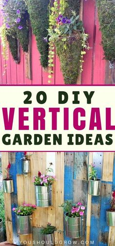 Vertical gardening ideas: Increase your gardening space by growing vertically. Try one of these diy vertical gardens. #verticalgarden #gardenideas