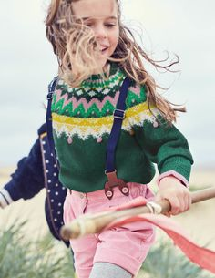 Forest Fair Isle Sweater, Everyday Shorts, & Cable Footless Tights | Mini Boden