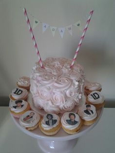 Rose bunting cake and one direction cupcakes