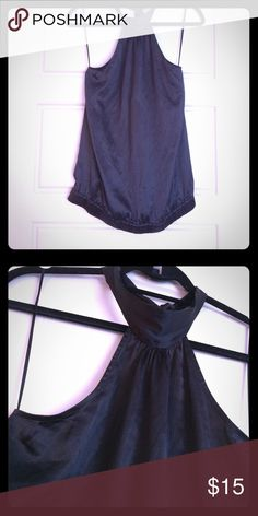Silk Espress Halter size Small Size small black silk Halter top with tie at top Express Tops Blouses