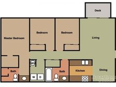 The Oak - 3 Bedroom & 2 Bathroom Single Story Apartment Home with W/D Hookups/1125 sq. ft.