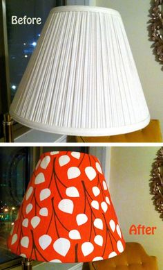"""DIY Lampshade Makeover, and then maybe tie some fabric """"bows"""" around it."""