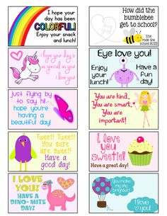 FREE girls lunch box notes l Lunchbox Notes For Kids, Kids Lunch For School, School Snacks, School Days, School Notes, School Stuff, Jokes For Kids, Dose, In Kindergarten