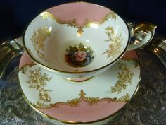 AYNSLEY FANCY  TEA CUP AND SAUCER PEDESTAL SWAN HANDLE PINK  WHITE FLORAL BAILEY #AYNSLEY