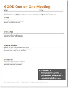 Manager-employee interaction is crucial. Use this free template in your one-on-one meetings with employees to boost engagement and drive business results. Leadership Coaching, Leadership Development, Professional Development, Leadership Quotes, Life Coaching, Business Analyst, Meeting Agenda Template, Staff Meetings, Co Working