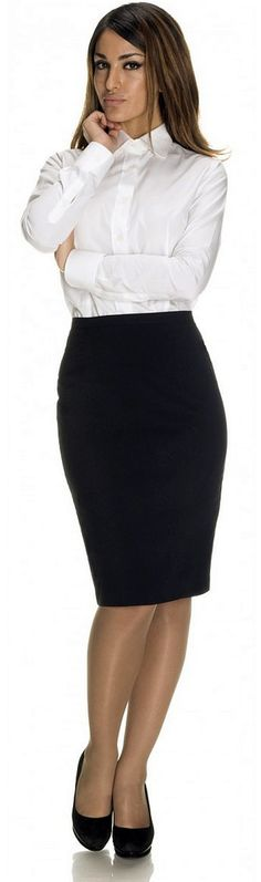 Dressed For Work In Formal White Shirt And Black Pencil Skirt
