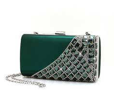 ImPrincess BAGS12025-lv evening bag Green Rhinestone compound metal decorate with rhinestones >>> Click image for more details.
