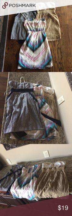 Bundle of 3 Summer Dresses Bundle of 3 Summer Dresses he blue and white striped Strapless is a size XS, the beige and white Strapless is a size small by Papaya Ava the multi colored dress with the Strapless with colors of white, turquoise black and lavender is a size small by Billabong these dresses are a reposh because the chest doesn't fit me A'Gaci Papaya and Billabong (3 labels) Dresses Mini