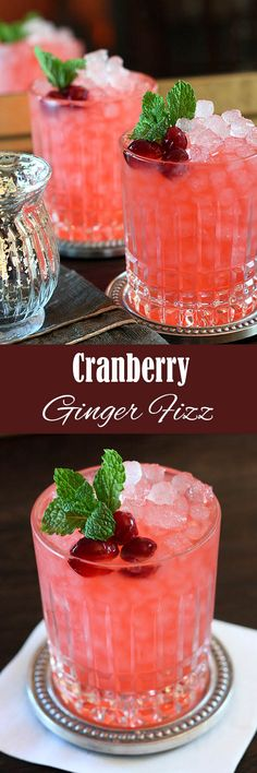 Cranberry Ginger Fizz     ¾ cup sugar     ¾ cup water     1 cup fresh cranberries     1 lemon, cut into wedges     ½ orange, cut into slices     1½ cups dry gin - Bombay Sapphire, Beefeater or Tangueray suggested     1 cup chilled Ginger Ale (or Ginger Beer for a more pronounced ginger flavor)     4 mint springs
