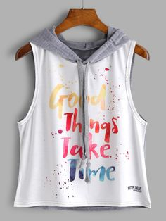 ROMWE Color Block Letter Print Sleeveless Hooded Top 2018 New Summer Letter Crop Women Top Drawstring Preppy Tank Girls Fashion Clothes, Teen Fashion Outfits, Cute Fashion, Outfits For Teens, Girl Outfits, Fashion Black, Fashion Fashion, Fashion Ideas, Fashion Dresses